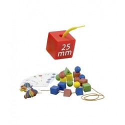 Formas ensartables 100 pcs + 10 cordones 25mm