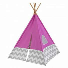 Tienda india color rosa con gris y blanco chevron de Kidkraft
