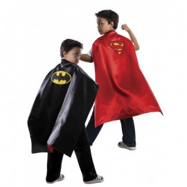 Capa batman- superman reversible infantil